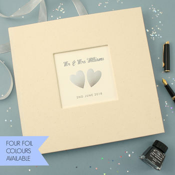 Personalised Hand Foiled Hearts Wedding Guest Book