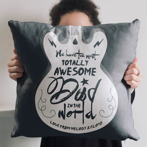 Personalised Totally Awesome Dad Guitar Cushion - music fans