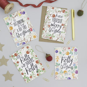 Pack Of Eight Bookish Christmas Cards - cards & wrap