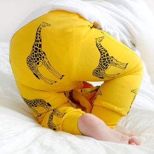 Yellow Giraffe Child And Baby Leggings