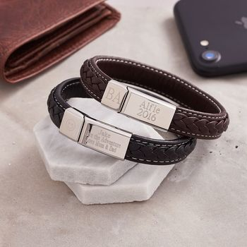 Personalised Braided Leather Bracelet For Men