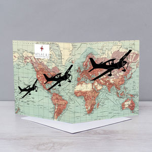 Flying Over World Map Card - blank cards