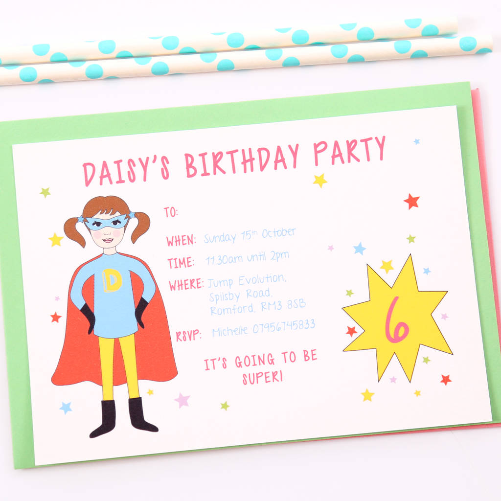 Superhero Girl Childrens Party Invitations
