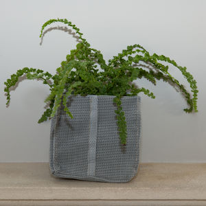 Square Textile Planter With Evergreen Fern - pots & planters