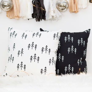 Scandinavian Christmas Cushion With Tree Pattern - festive scandi