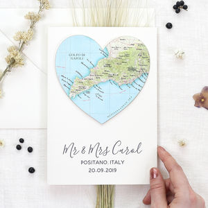Personalised Map Location Heart Wedding Engagement Card