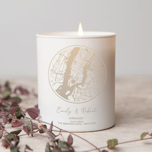Wedding Or Engagement Personalised Map Candle