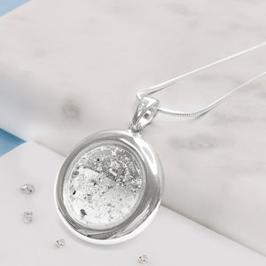 Sterling Silver Round Resin Memorial Pendant