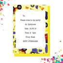 Eight Personalised Digger Party Invitations