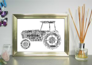 Tractor Personalised Word Art Print - baby's room