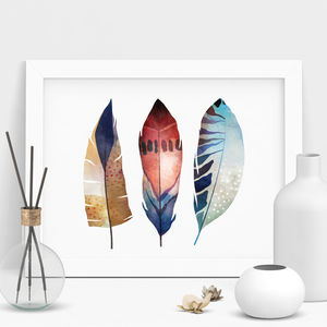 Colourful Bohemian Feather Illustration Print - still life