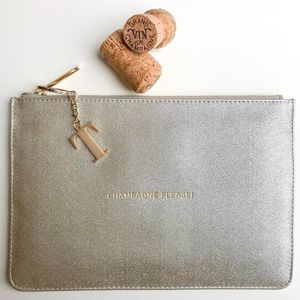 Personalised 'Champagne Please' Sparkly Silver Pouch - womens