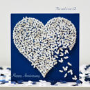 Butterfly Wedding Anniversary Card, White Heart Card