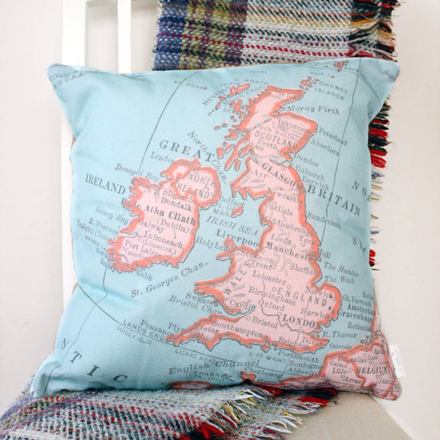 Personalised United Kingdom Vintage Map Print Cushion