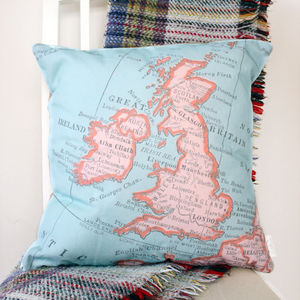Personalised United Kingdom Vintage Map Print Cushion - bedroom