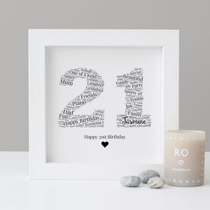 Personalised 21st Birthday Gift Print - new in prints & art