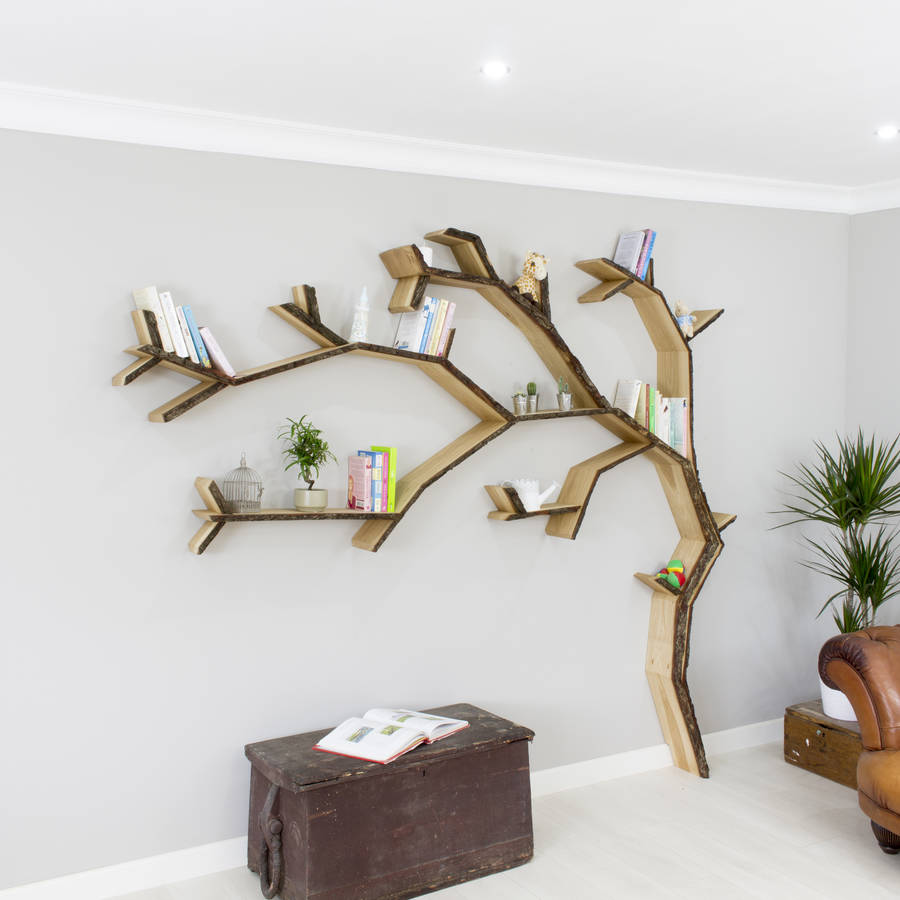 windswept oak tree bookcase shelf by bespoak interiors