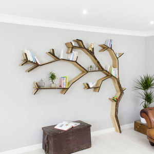 Windswept Oak Tree Bookcase Shelf - shelves