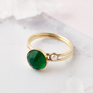 Gold Filled 14ct Skinny Stacking Rings With Green Onyx