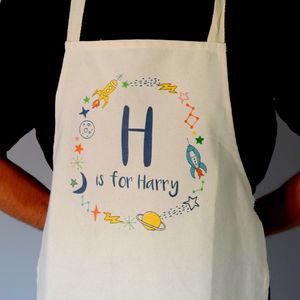 Personalised Kids Space Wreath Apron - kitchen