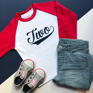 'Two' Birthday Raglan Baseball Top - clothing