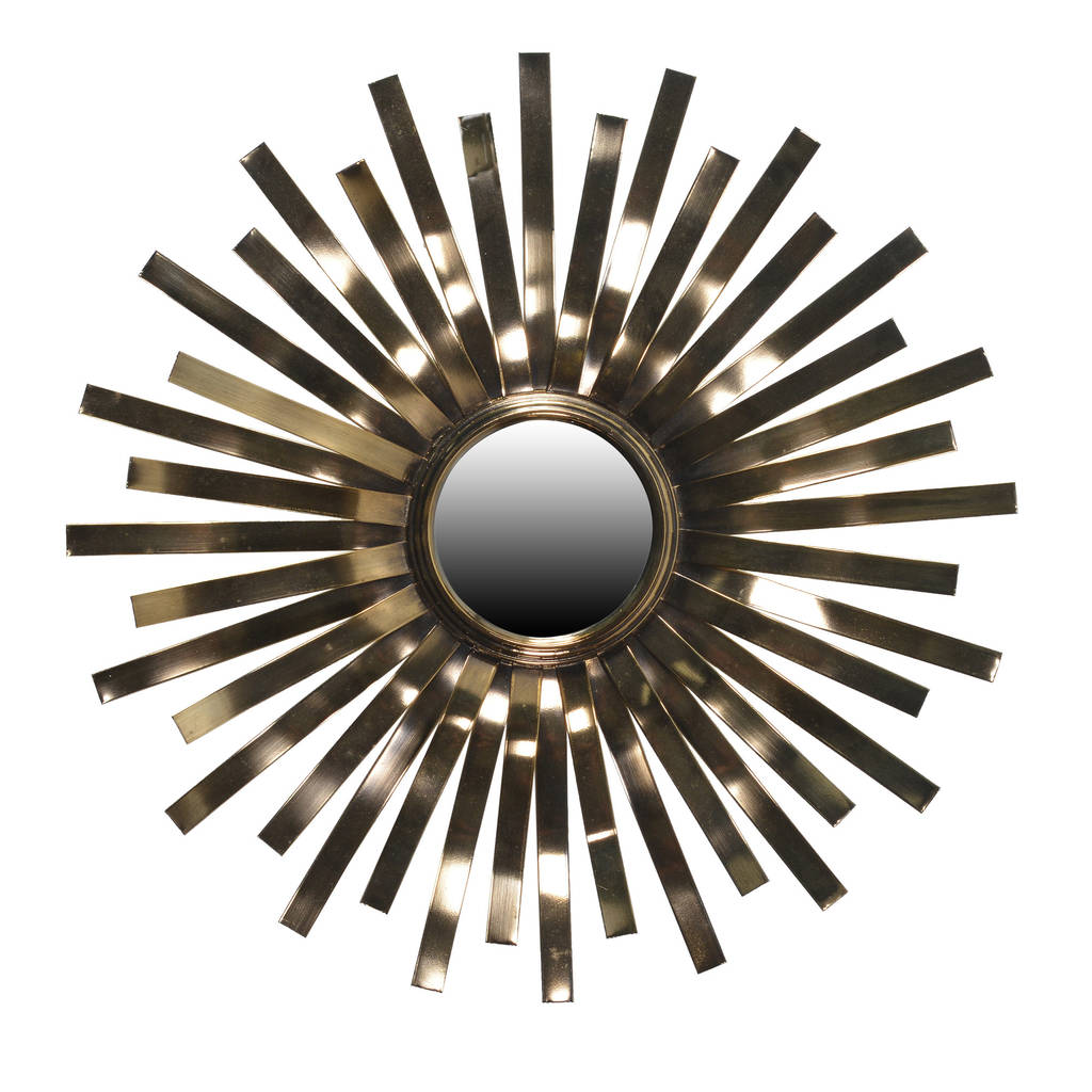 Glossy Sunburst Wall Mirror In Gold
