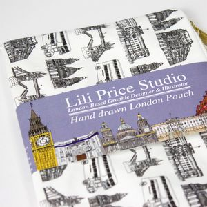 Hand Drawn London Pattern Pouch - make-up bags