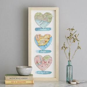 Three Personalised Map Heart Wedding Watercolour Print