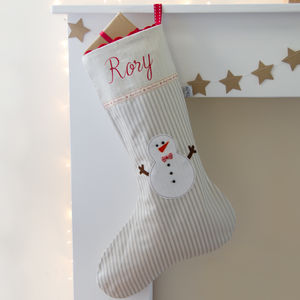 Blue Snowman Personalised Christmas Stocking