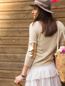 Cashmere Jumper With Metallic Elbow Patch - jumpers & cardigans