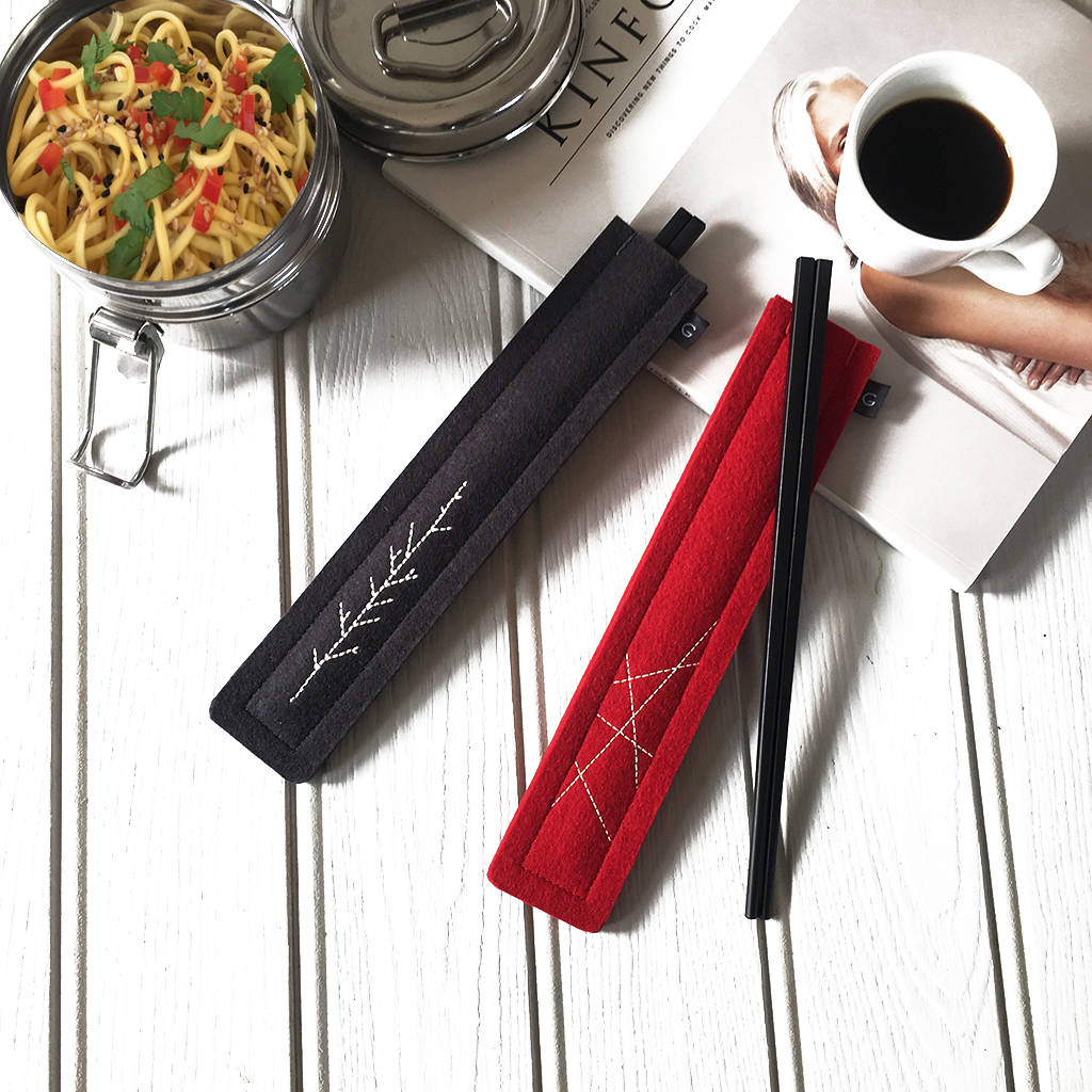 Travel Chopsticks With Embroidered Case