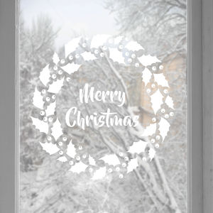 Merry Christmas Window Or Wall Sticker Wreath - christmas home accessories