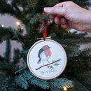 Personalised Robin 1st Christmas Tree Hoop Decoration