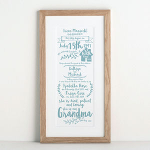 Story Of My Grandparents Print - typography