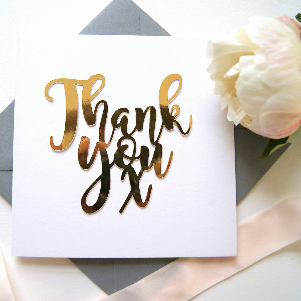 Thank You Card Luxe Gold By The Hummingbird Company