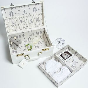 Personalised Memory Suitcase Keepsake Box Gift Set - 3rd anniversary: leather