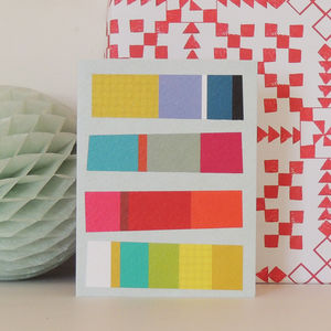 Coloured Stripes Mini Greetings Card