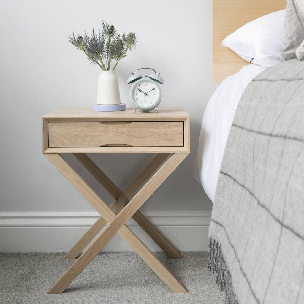 oak bedside table with crossover leg by urbansize rh notonthehighstreet com
