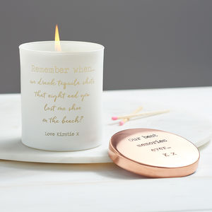 Personalised 'Remember When…' Glow Through Candle - for best friends