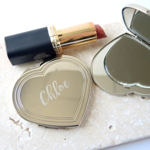 Engraved Flat Heart Mirror