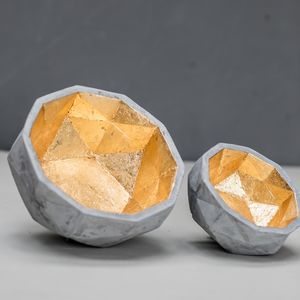 Geometric Gold Inlay Concrete Bowl - summer sale