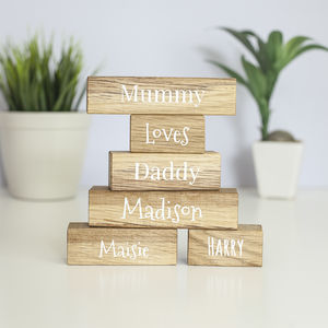 Personalised Family Names Oak Building Blocks