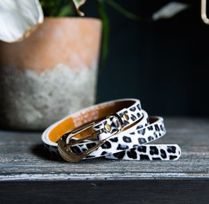 Slim Leopard Print Belt - belts