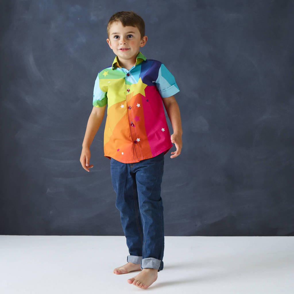 Party Shirt In Rainbow Print