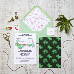 Flamingo Wedding Invitation - on trend: botanical