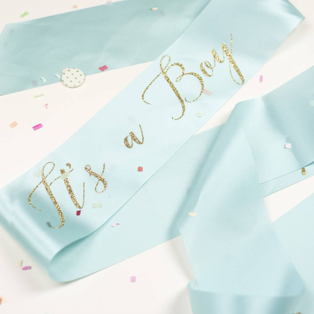 It S A Boy Gender Reveal Baby Shower Sash By Oh Squirrel