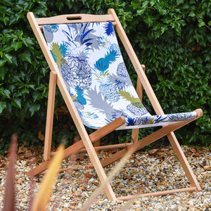 Tropical Pineapple Print Garden Deckchair - garden furniture