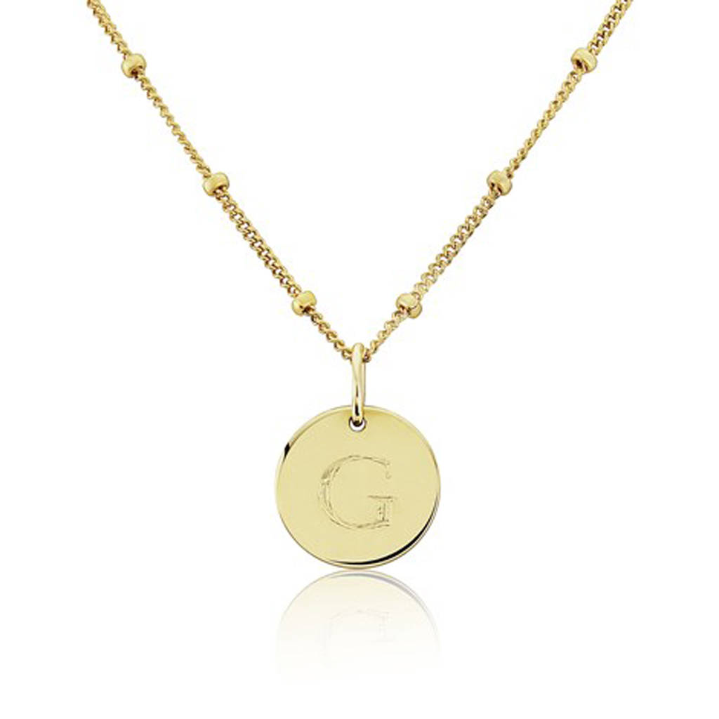 Personalised gigi solid 9ct gold initial disc pendant by argent of personalised gigi solid gold initial disc necklace on curb bead chain with times new roman mozeypictures Choice Image