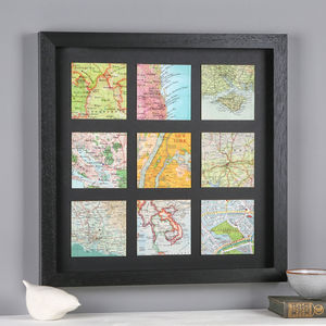 Personalised Nine Map Squares Print Gift For Him - summer sale