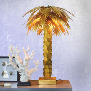 Palm Tree Table Lamp In Brass - table lamps